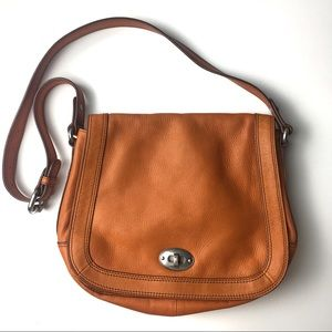 Fossil Vintage orange shoulder leather bag